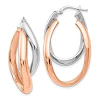 Sterling Silver Rose Gold-plated Double Oval Hoop Earrings, By Versil