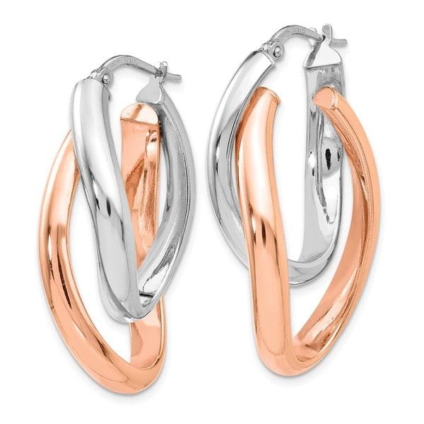 Sterling Silver Rose Double Oval Hoop Earrings
