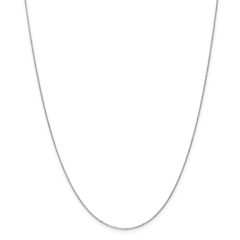 10 Karat White Gold .8mm Diamond Cut Cable Chain