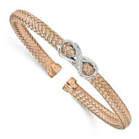 Sterling Silver Rose Gold-plated CZ Infinity Cuff Bangle