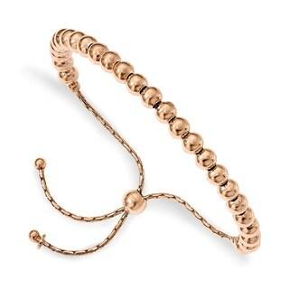 Sterling Silver Rose-tone Polished Beaded Adjustable Bracelet