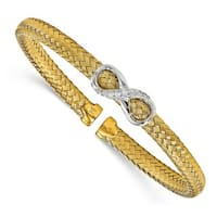 Sterling Silver Gold-plated CZ Infinity Woven Cuff Bangle