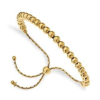 Sterling Silver Gold-tone Polished Beaded Adjustable Bracelet