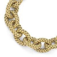 Sterling Silver Gold-plated Polished Textured Link Bracelet