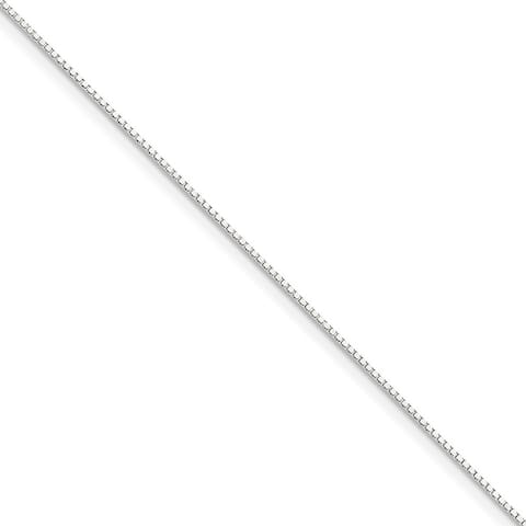 10K White Gold High Polished Solid 1mm Lobster Clasp Box Chain by Versil