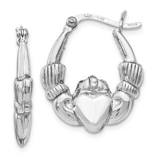 Sterling Silver Polished Claddagh Hinged Hoop Earrings, By Versil