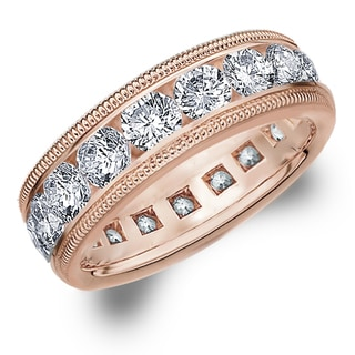 Amore 14K Rose Gold 5.0 CTTW Milgrain Eternity Diamond Wedding Band