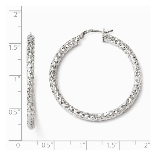 Silver Polished Textured Hinged Hoop Earrings