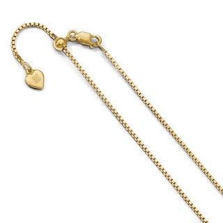 Sterling Silver 1.1 mm Gold-plated Adjustable Box Chain, by Versil