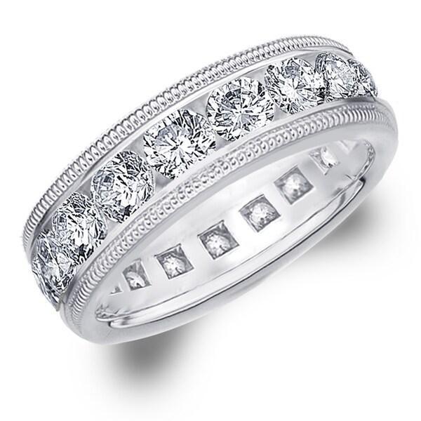 Amore Platinum 5.0 CTTW Milgrain Eternity Diamond Wedding Band - White G
