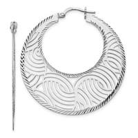 Sterling Silver Fancy Polished Cut-out Large Hoop Earrings, By Versil