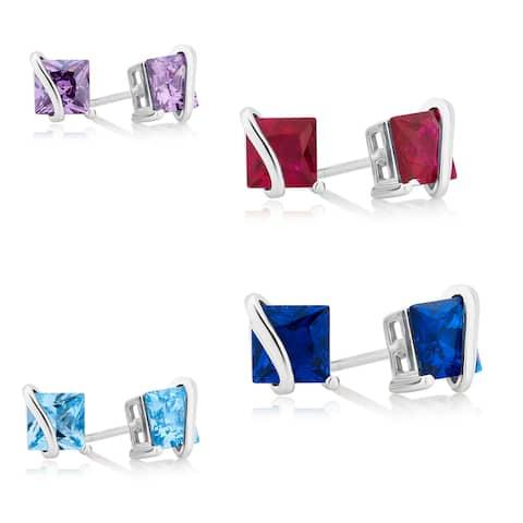 Divina Sterling Silver Princess cut Gemstone Stud Earrings.