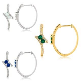 Divina Sterling Silver Two-Stone Gemstone Bypass Hoop Earrings.