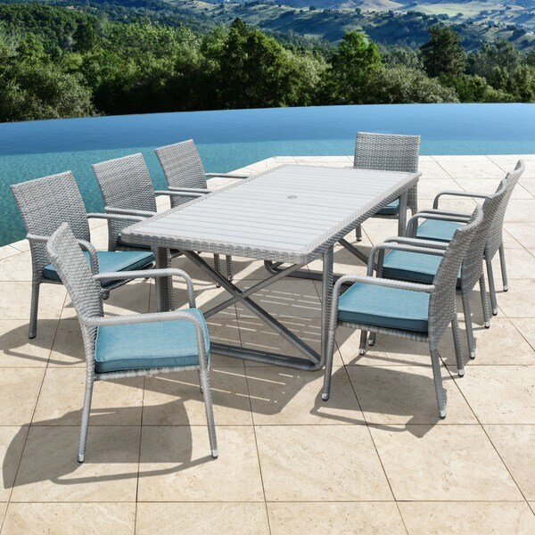 Corvus Martinka 9-piece Grey Wicker Patio Dining Set with Cushions