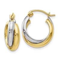 Versil 10 Karat Two-Tone Polished Hinged Hoop Earrings