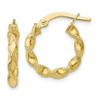Versil 10 Karat Polished & Textured Twisted Hinged Hoop Earrings