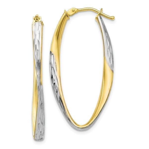 Shop Versil 10 Karat Gold White Rhodium Plated Diamond Cut Hoop