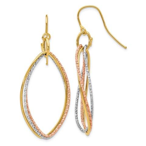Versil 10 Karat Tri-color Shepherd Hook Dangle Earrings