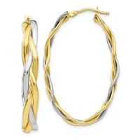 Versil 10 Karat Two-Tone Polished Braided Hoop Earrings