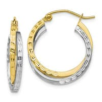 Versil 10 Karat Two-tone Textured Hinged Hoop Earrings