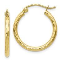 Versil 10 Karat Textured Hinged Hoop Earrings