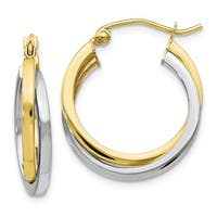 Versil 10 Karat Two-tone Polished Hinged Hoop Earrings