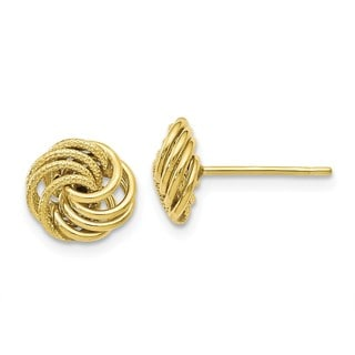 Versil 10 Karat Polished and Textured Post Earrings