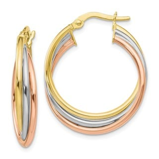 10K Tri-Color Polished and Textured Twisted Hoop Earrings by Versil