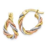 Versil 10 Karat Tri-Color Earrings
