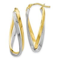 Versil 10 Karat Two-tone Polished Twisted Hoop Earrings