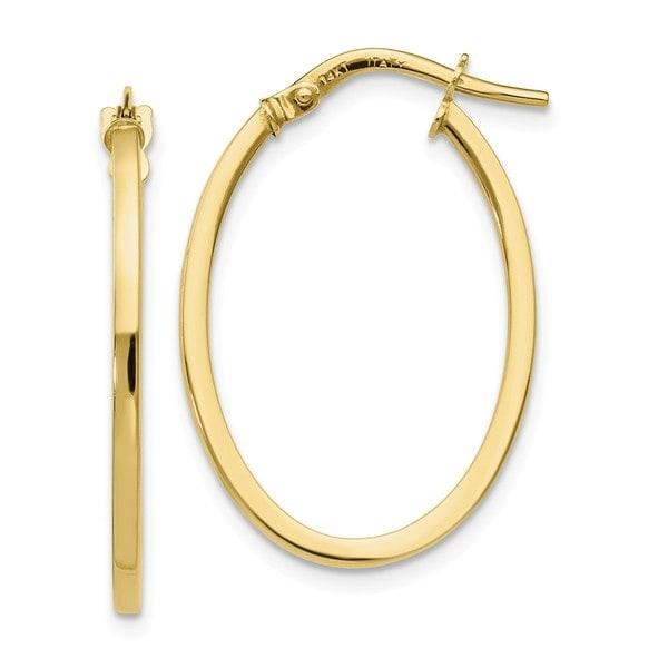Shop Versil 10 Karat Yellow Gold Polished Oval Hoop Earrings On
