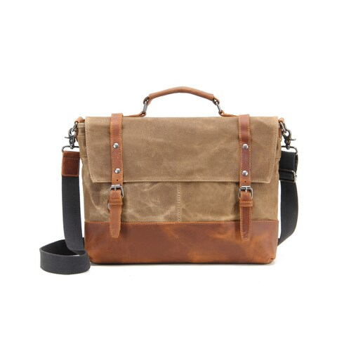 InFurniture Retro 12 ounce Kaki Waxed Canvas 17-inch Laptop Messenger Bag