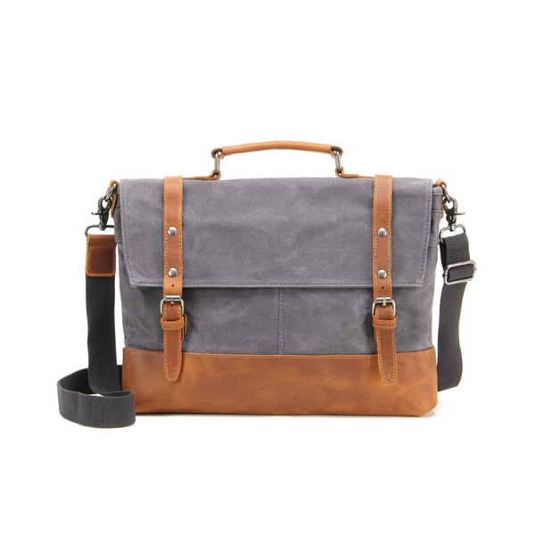 Infurniture Retro 12 Ounce Grey Waxed Canvas 17 Inch Laptop Messenger Bag