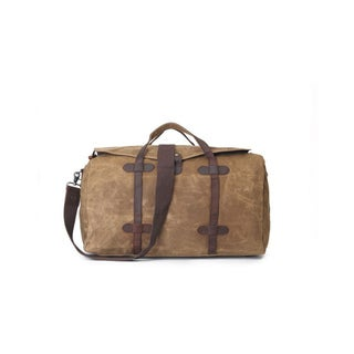 Infurniture Retro Khaki Waxed Canvas Travel Duffel Bag