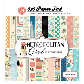 "Carta Bella Double-Sided Paper Pad 6""X6"" 24/Pkg-Metropolitan Girl, 12 Designs/2 Each"