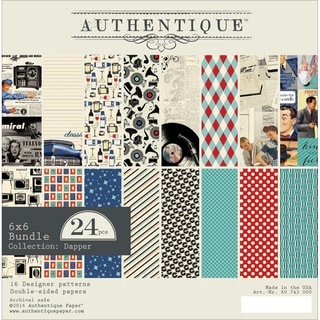 "Authentique Double-Sided Cardstock Pad 6""X6"" 24/Pkg-Dapper, 8 Designs/3 Each"