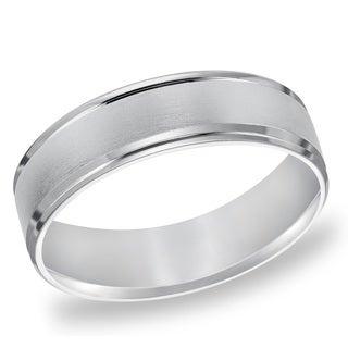Cambridge Platinum 6mm Beveled-Edge Men's Wedding Band