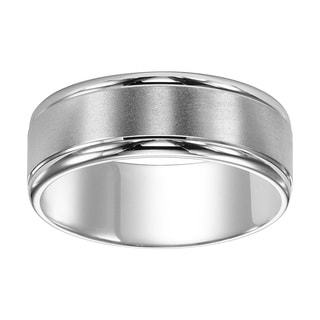 Cambridge 14k White Platinum Engraved Men's 8mm Wedding Band