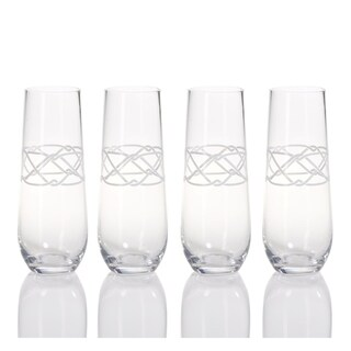 Flute Champagne Glass, Nautical Carrick Rope Design (Set of 4)