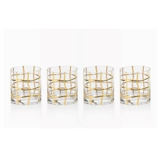 Groove Double Old Fashioned Glasses, Set of 4