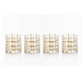 Old Fashioned Glass, Groove Design (Set of 4)