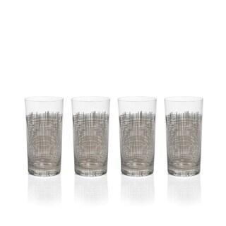4-Piece Reza Crosshatch Highball Glass Set, Platinum