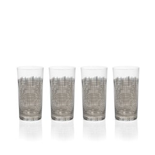"""Reza"" Highball Glass, Platinum Crosshatch Design (Set of 4)"