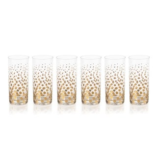 Seraphina Golden Dot Design Highball Glasses, Set of 6