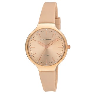 Laura Ashley Women's LA31031RG Rose Gold Water Resistant Sunray Dial Soft Silicone Band Watch