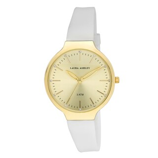 Laura Ashley Women's LA31031YG White Water Resistant Sunray Dial Soft Silicone Band Watch