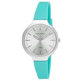 Laura Ashley Women's LA31031BU Blue Water Resistant Sunray Dial Soft Silicone Band Watch