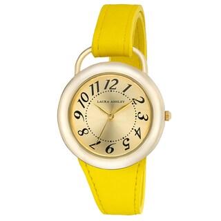 Laura Ashley Women's LA31030YL Yellow Band Sunray Dial Sterrup Case Push Pin Closure Watch (Option: Yellow)