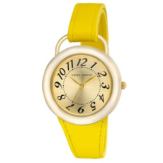 Laura Ashley Women's LA31030YL Yellow Band Sunray Dial Sterrup Case Push Pin Closure Watch