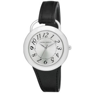 Laura Ashley Women's LA31030BK Black Band Sunray Dial Sterrup Case Push Pin Closure Watch